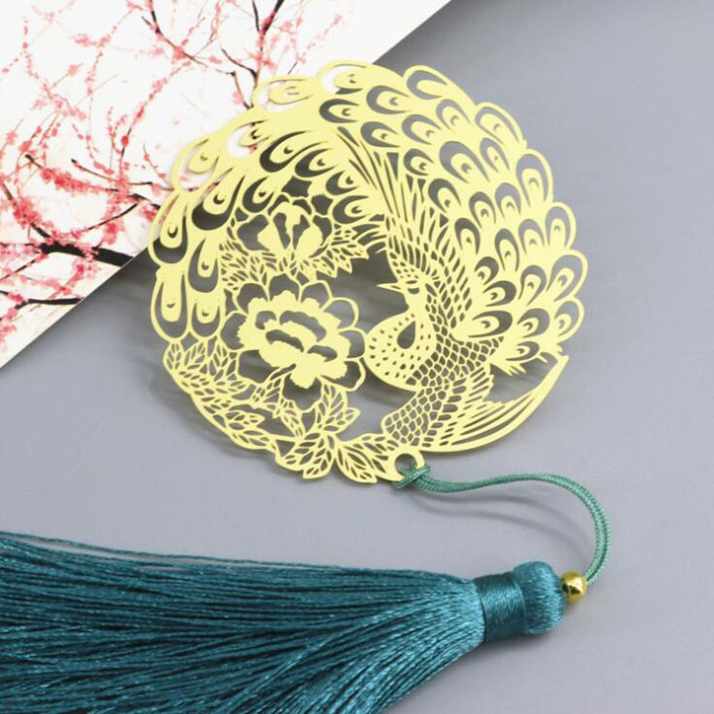 Vintage Chinese Style Gold Metal Hollow Peacock Tassel Bookmark Office Stationery School Exquisite Student Supplies Girl Gift