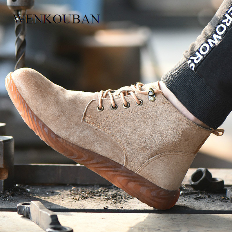 Winter Leather Safety Work Boots Men Indestructible Shoes Fashion Mid-Calf Boots Steel Toe Sneaker Rubber Safety Bota MMasculina
