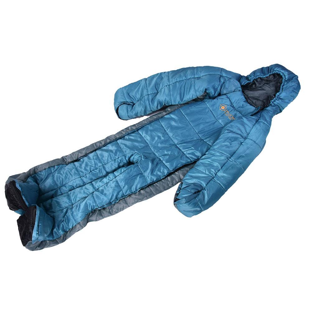 Спальный мешок в форме человека, зимний теплый удобный спальный мешок на молнии, спальный мешок для палаток, походов, походов - 4