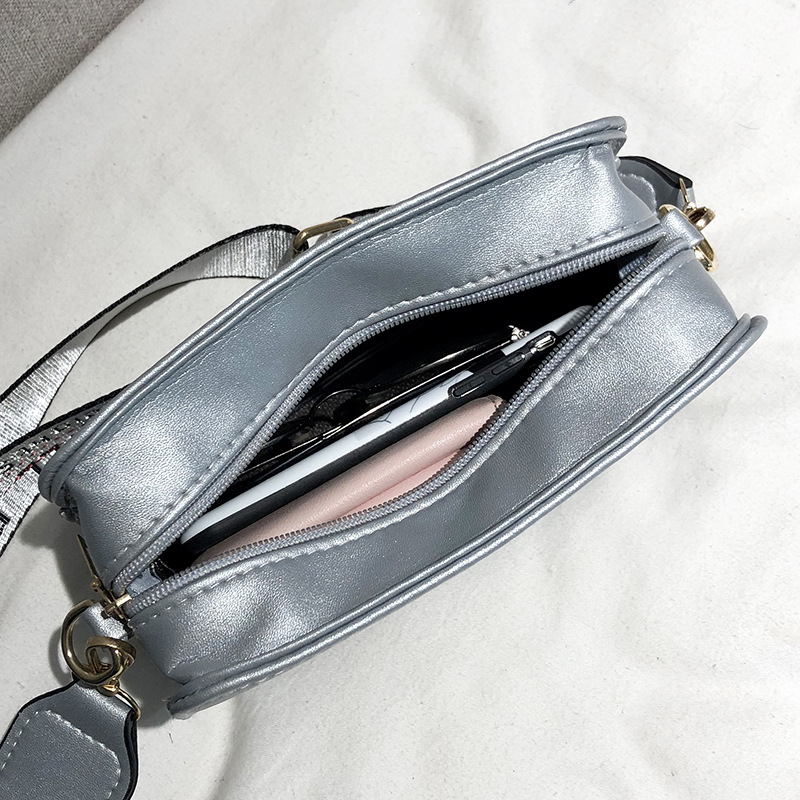 Bag Women's 2019 New Style Over-the-shoulder Bag Wide-Strap Lettered Versitile Fashion Pu Square Sling Bag Mobile Phone Bag