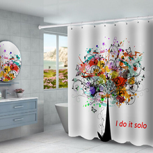 Scandinavian style tree printed waterproof shower curtain partition curtain free punching factory direct sales christmas log cabin snowmen tree printed shower curtain