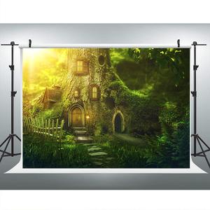 Image 4 - خلفية ساحرة في الغابة لتصوير الأطفال حديثي الولادة ، خلفية منزل شجرة الجنية لعيد الميلاد الأول ، استوديو الصور