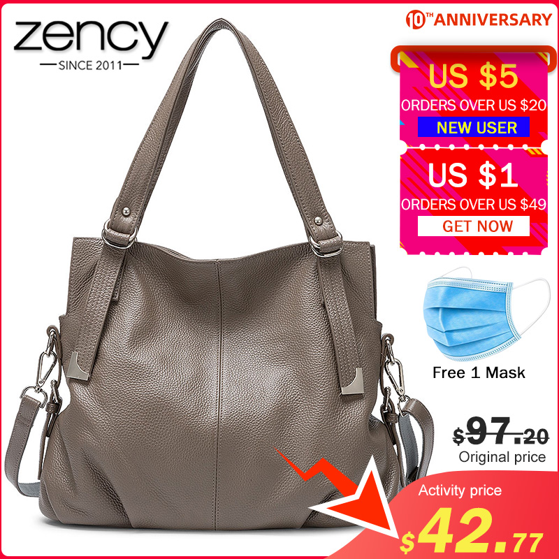 Zency Women Shoulder Bag Made Of Genuine Leather Classic Black Tote Handbag High Quality Hobos Charm Lady Crossbody Bags Grey