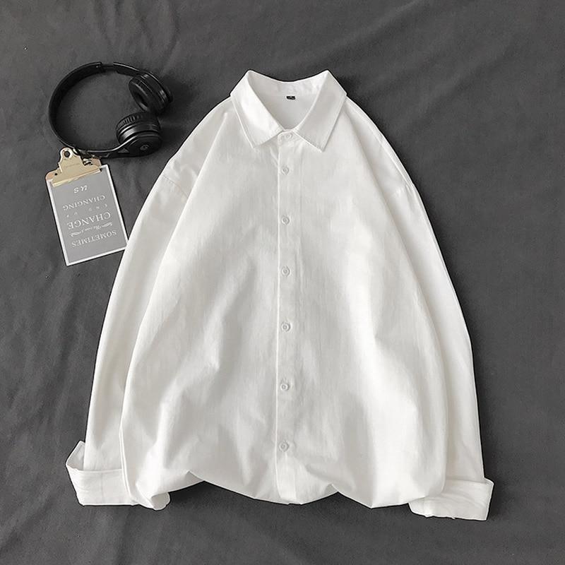 Autumn New Korean Fashion Men s White Shirt Casual Long Sleeved Shirts Pink Khaki Black Loose