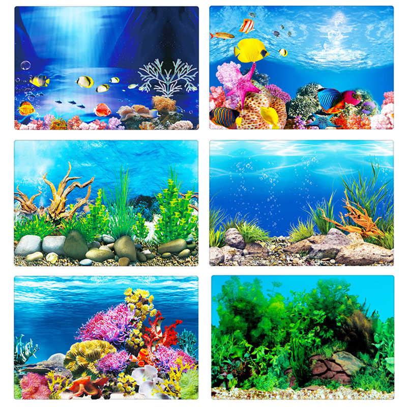 PVC Akuarium Dekorasi Poster Dua Sisi Tangki Ikan 3D Latar Belakang Lukisan Stiker Laut Tanaman Lanskap Dekorasi Ornamen