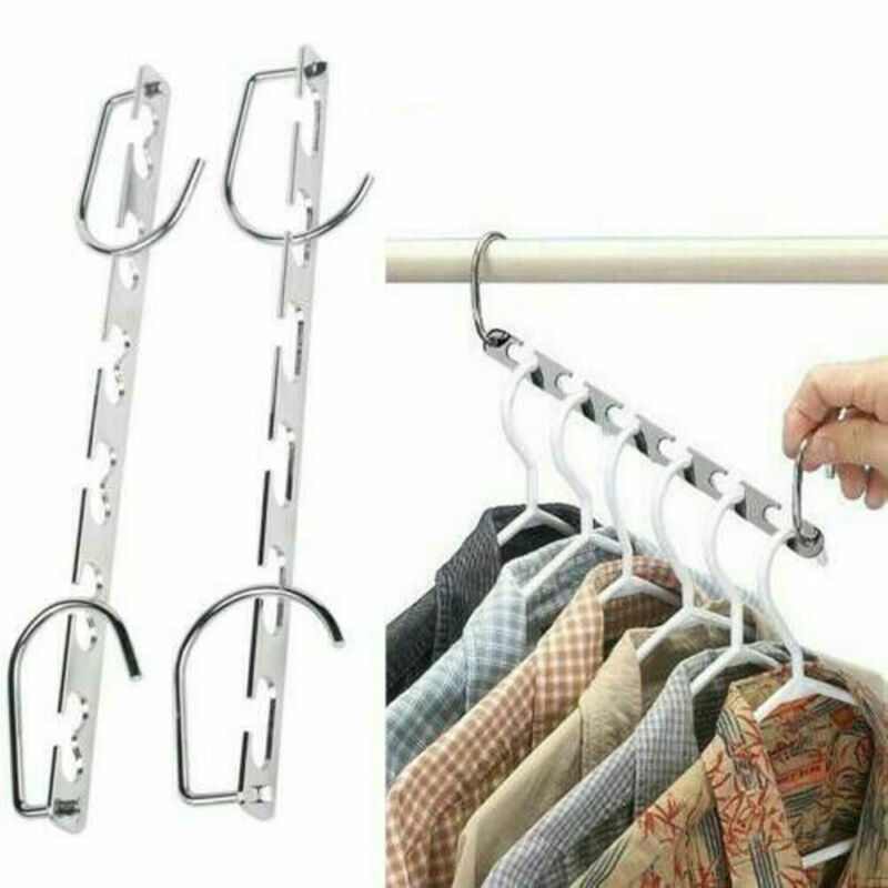 2019 Newest 1 Pcs Collapsible Multi Function Metal Magic Hook Clothes Closet Hangers Space Saver Organizer
