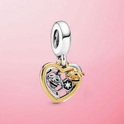 Genuine 925 Sterling Silver Hearts & Bees Dangle Charm Beads Fit Original Pamura Bracelet Necklace S925 Jewelry Gift