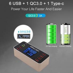 Image 2 - 40W מהיר רב יציאת USB מטען רכזת תשלום 3.0 סוג C USB טעינת תחנת שולחן העבודה מטען מהיר Led תצוגה 8 יציאות Multiport