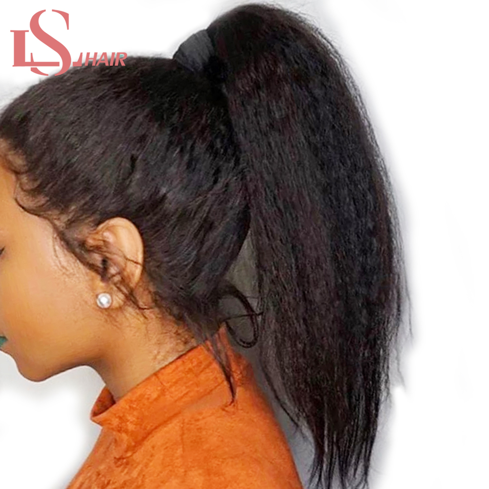 LS Hair 360 lace Frontal wigs Peruvian Kinky Straight Wig Lace Human Hair Wigs for Black Women Coarse Lace Frontal Wig Remy hair