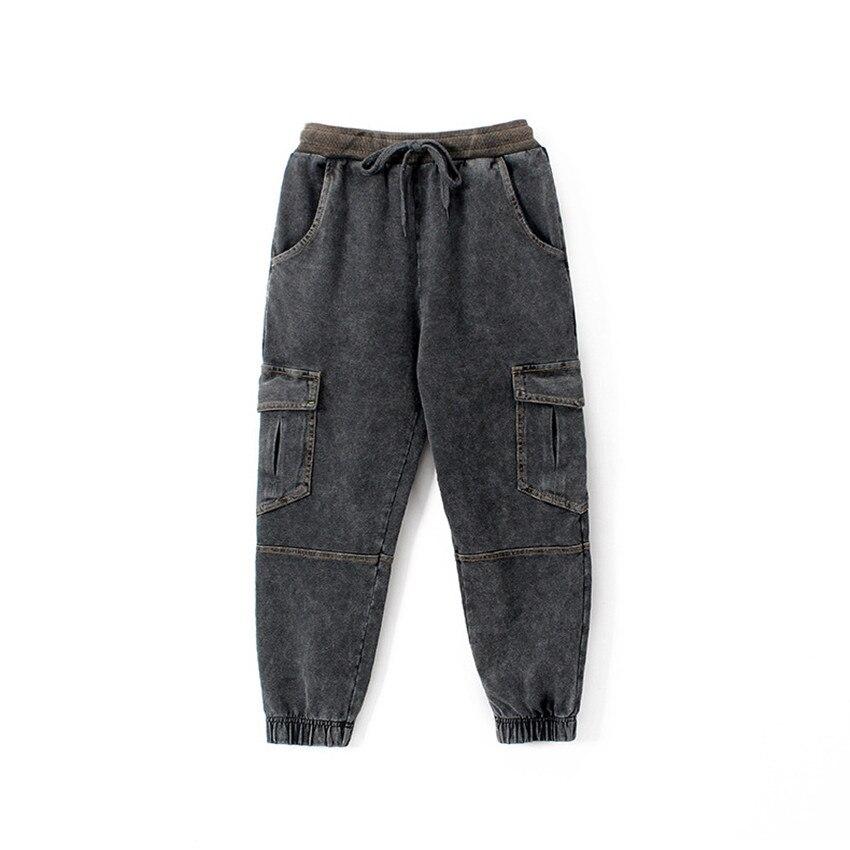 qualidade algodão calças de brim de tricô
