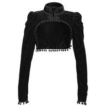 Черная бархатная короткая укороченная куртка в стиле стимпанк с длинным рукавом, Осеннее женское готическое Болеро в викторианском стиле, ...