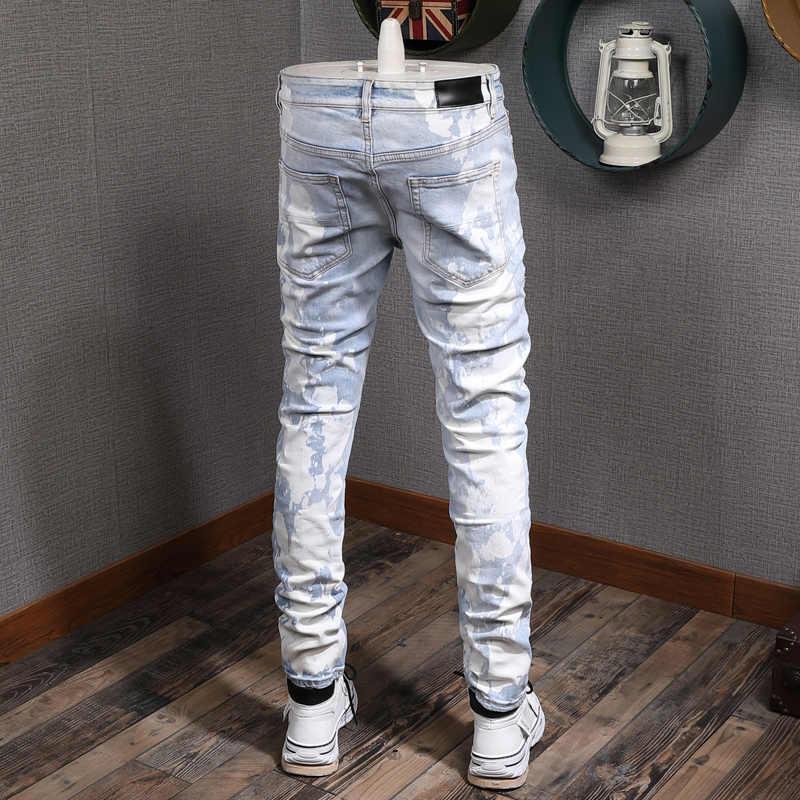 Ropa De Calle Americana Para Hombre Pantalones Vaqueros Rasgados Ajustados Con Pintura Azul Claro Parches De Lavado Blanco Jeans De Diseno Hip Hop Pantalones Vaqueros Aliexpress