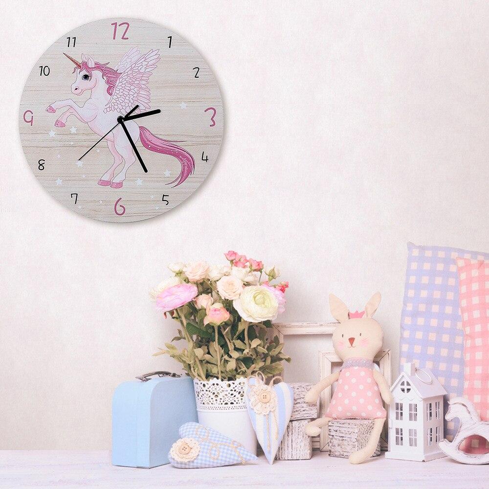 Cartoon Pink Unicorn Wall Clock Modern Design Silent Kids Room Decoration Wall Watches Home Decor Living Room Bedroom Art Design