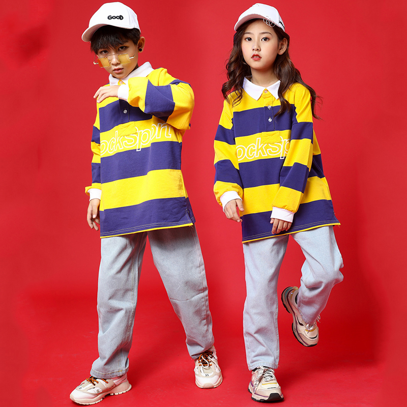Children'S Street Dance Suit Boys Hip Hop Tide Loose Long Sleeve Autumn Girls Jazz Clothes Kids Catwalk Show Clothing DQL2359