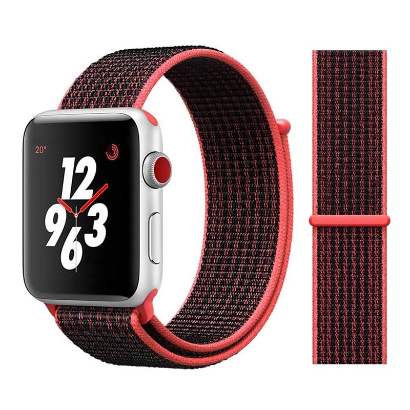 Для наручных часов Apple Watch, версии 3/2/1 38 мм 42 мм нейлон мягкий дышащий нейлон для наручных часов iWatch, сменный ремешок спортивный бесшовный series4/5 40 мм 44 мм - Цвет ремешка: Color10 Pink Black