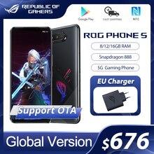 מקורי ASUS ROG טלפון 5 הגלובלי גרסה Snapdragon888 8/12/16GB RAM 128/256GB ROM 6000mAh 65W NFC OTA עדכון משחקי טלפון ROG5