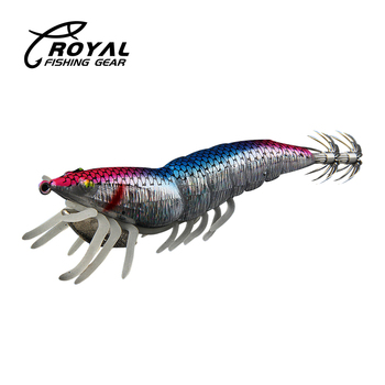 Fishing Lure Shrimp Prawn Squid jigging Artificial Lure Noctilucent with Squid Jigs Hook jigs