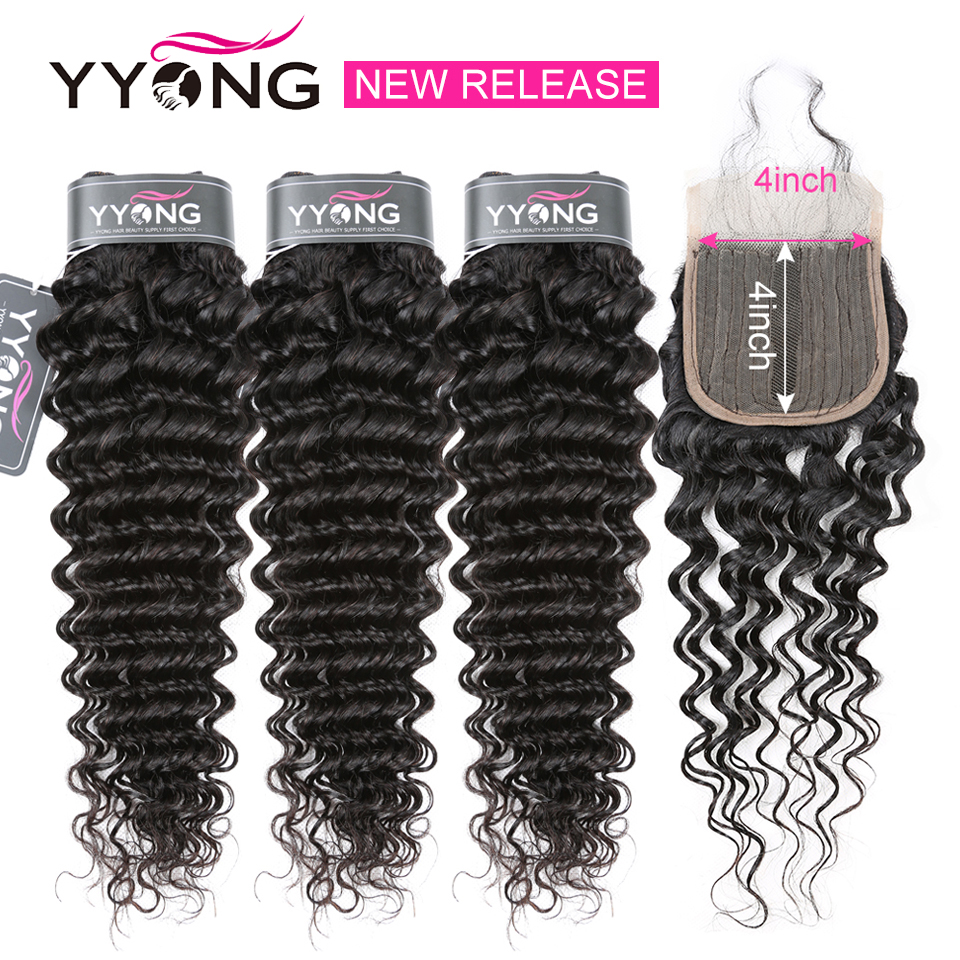YYong Half Handtied T 4X1+1X4 Lace Closure With Bundles Brazilia Deep Wave   Bundles With Lace Closure Affordable 1