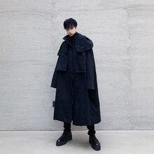 Male Japan Streetwear Trench Coat Overcoat Windbreaker Outer