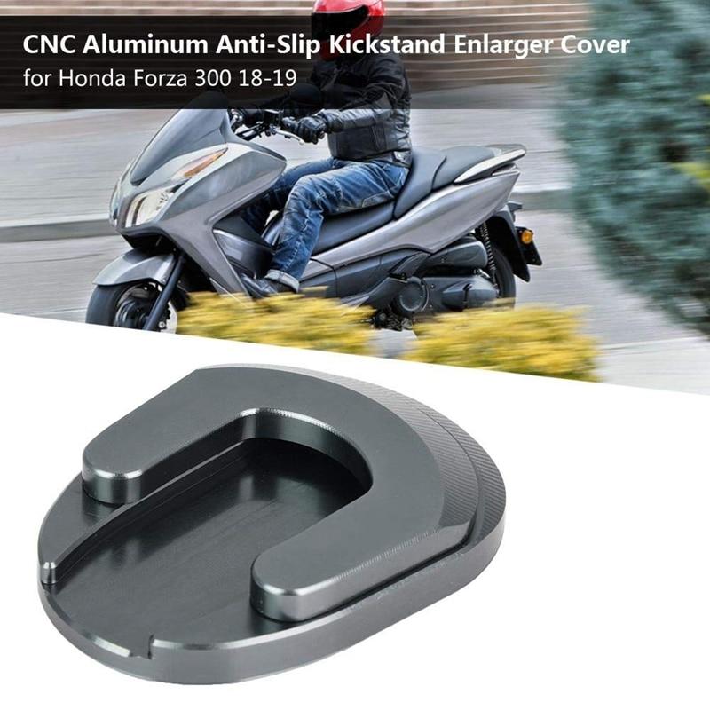 Motorcycle Kickstand Pad, Motorcycle CNC Aluminum Anti-Slip Kickstand Enlarger Cover For Honda Forza 300 18-19 (Titanium)