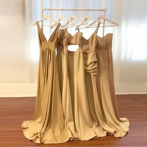Image 5 - סקסי שושבינה שמלות 2020 שרוולים V מחשוף ללא משענת סאטן העבאיה gece שמפניה שמלה למסיבת חתונה