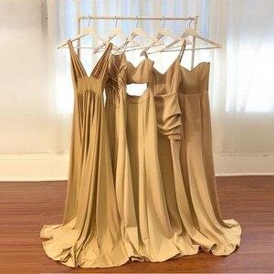 Image 5 - Sexy Bridesmaid Dresses 2020 Sleeveless V Neckline Backless Satin abiye gece elbisesi Champagne Dress for Wedding Party