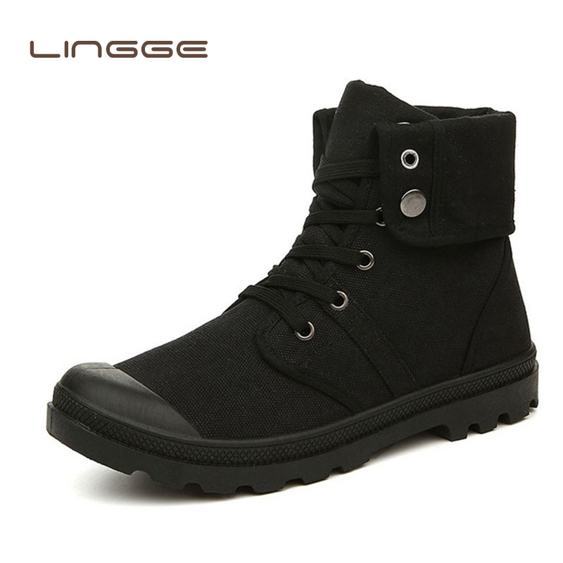 LINGGE Winter Classic Men Canvas Boots Fashion High-top Military Ankle Booties Men's Shoes Casual Flats Comfortable Sneakers