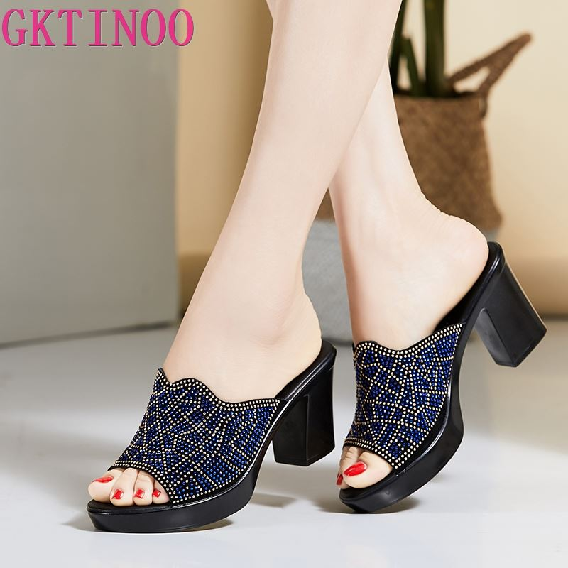 GKTINOO Women Slipper's 2020 Ladies Summer Slippers Genuine Leather Shoes Women High Heels Fashion Rhinestone Summer Shoes