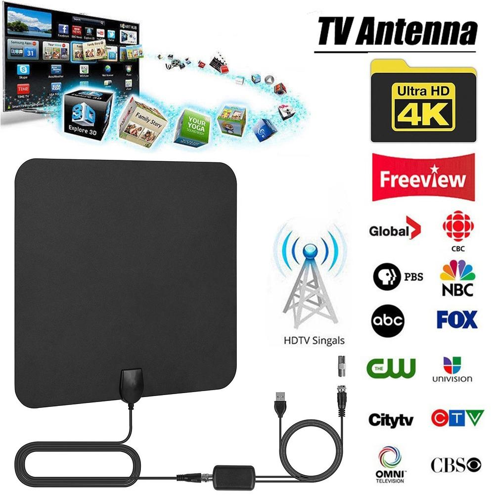 4K Digital HD TV Aerial Indoor Amplified Antenna 960 Miles Range With HD1080P DVB-T2 Freeview TV For Life Local Channels