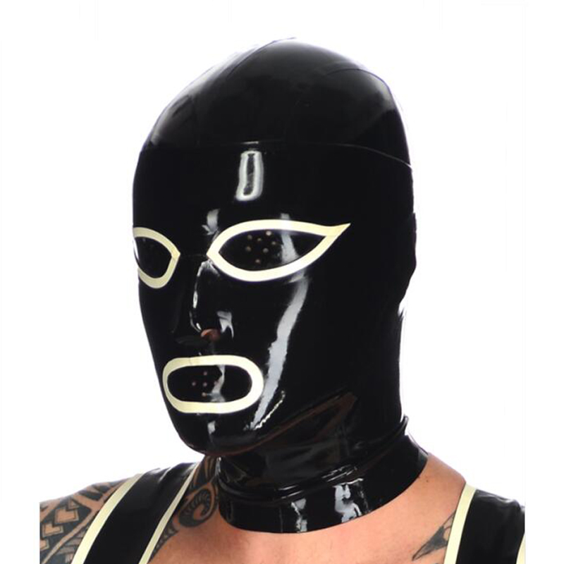 2019 sexy exotic <font><b>lingerie</b></font> black latex rubber fly eyes mouth mask hoods hood full face fetish cekc uniform customize size <font><b>XS</b></font>-XXL image