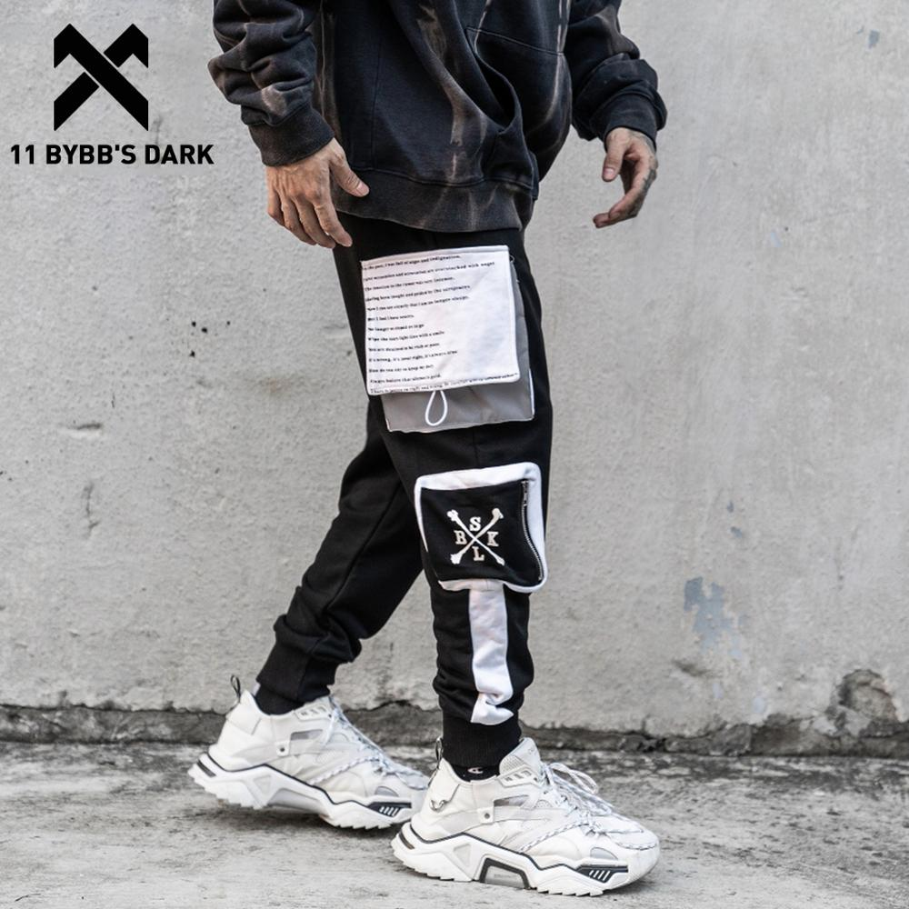 11 BYBB'S DARK Reflective Cargo Pants Men Harajuku Pockets Patchwork Trousers Casual Hip Hop Streetwear Men Joggers Sweatpants