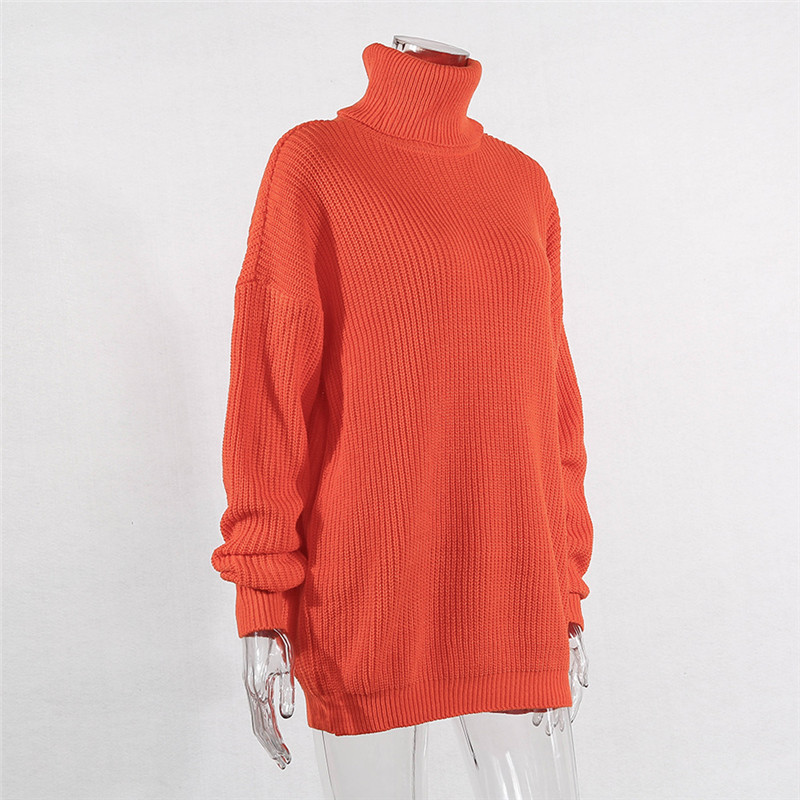 BOOFEENAA Fashion Turtleneck Oversized Sweater Winter Clothes Women Neon Green Pink Orange Pullove Fashion high sweater
