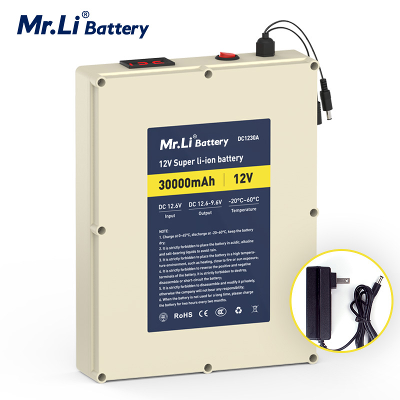 MR.Li 12vV30Ah Rechargeable <font><b>lithium</b></font> ion <font><b>Battery</b></font> <font><b>Pack</b></font> For Outdoor Power Supply With BMS Board Protection And 5A Charger image