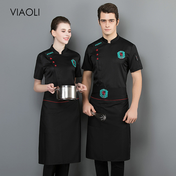Chef Jackets Food Service Restaurant hotel Kitchen Uniform embroidery short sleeved Kitchen Chef Shirt Breathable work clothes unisex chef jacket kitchen restaurant uniform shirt summer chef cook shirt apron hat food service bakery hotel work clothes