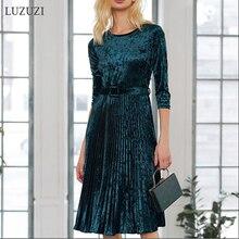 LUZUZI осенне-зимнее женское бархатное ТРАПЕЦИЕВИДНОЕ ПЛАТЬЕ с поясом и круглым вырезом, рукав три четверти, плиссированное платье, женские элегантные вечерние платья
