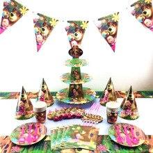 120pcs/180 יח\סט מאשה ודוב נושא תינוק מקלחת בני יום הולדת קישוט חתונה ספקי צד אירוע שונים כלי שולחן סטים