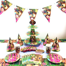 120pcs/180Pcs/Set Masha And Bear Theme Baby Shower Boys Birthday Decoration Wedding Event Party Supplies Various Tableware Sets