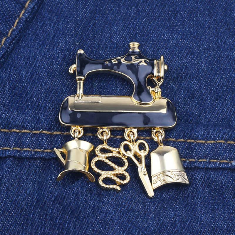 Broche de la máquina de coser esmalte negro a la moda, Pin colgante dorados, tijeras para grupo de alambre, broche bonito de mujer a la mitad, regalo de joyería