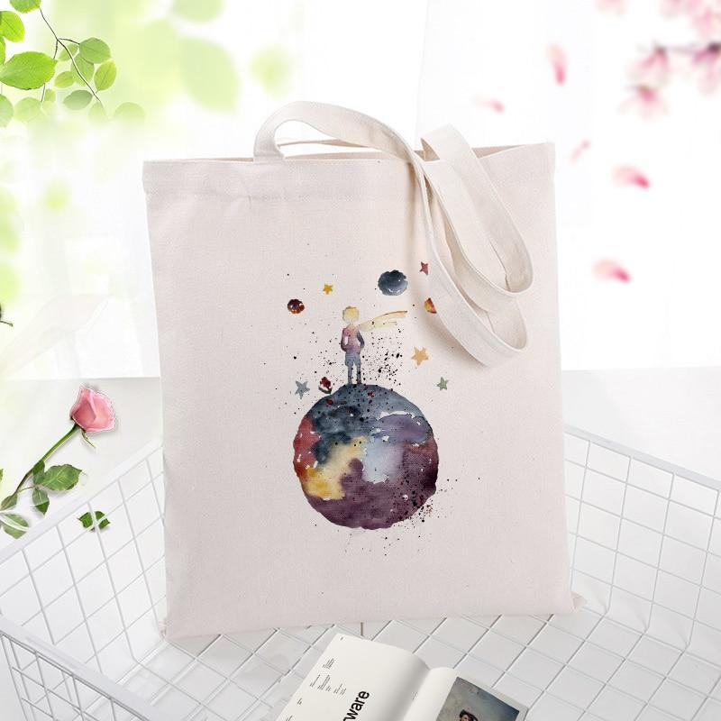 Tote Bag Shopping Bag Little Prince Text DIY Canvas Handbag Daily Use Custom Print Logo Eco Reusable Recycle