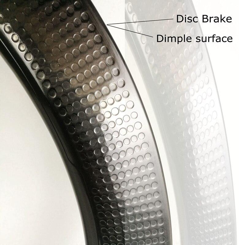 700C 58mm Tubeless road bike disc brake carbon wheels dimple carbon wheelset D350 t240 hubs