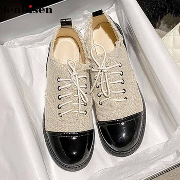 Lenkisen big size cow leather patchwork pumps round toe med heels women classic mixed colors campus lace up leisure shoes L22