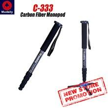Manbily C 333 profissional de fibra carbono portátil viagem monopé suporte pode ficar com mini base tripé para digital dslr câmera