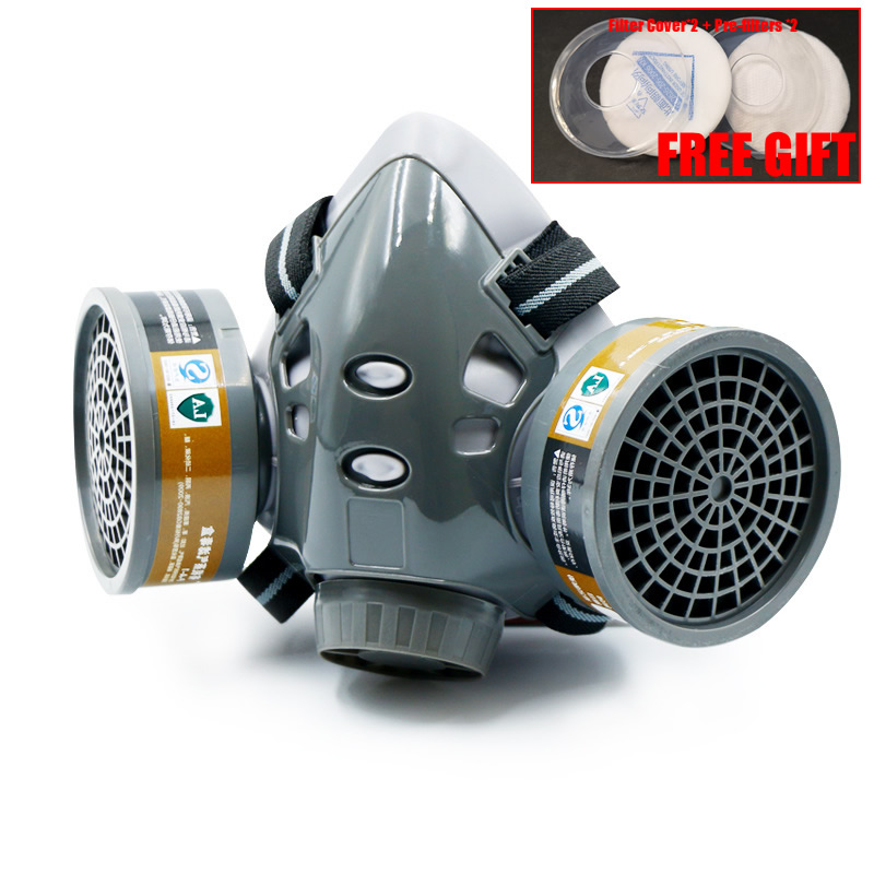 Half Face Dust Gas Chemical Respirator Dual Filters Work Safety Protective Mask For Industrial Spraying Painting Organic Vapor