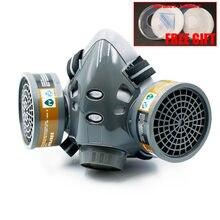 Respirador químico de Gas y polvo de media cara, mascarilla protectora de seguridad para el trabajo, filtros duales, pintura Industrial, Vapor orgánico