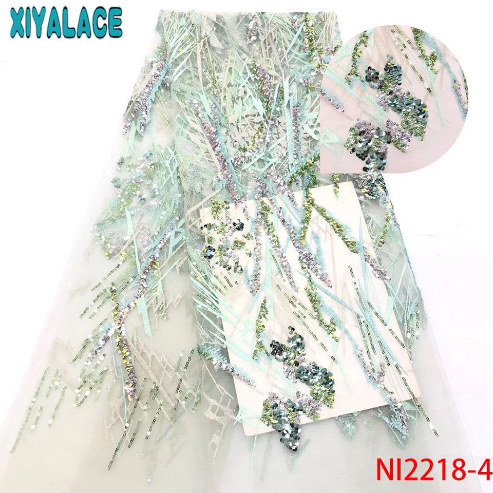 New Sequin Lace Fabric,French Laces Fabrics High Quality Tulle French,Lace Material For African Women KSNN2218-4