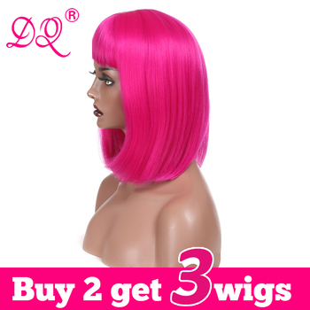 DQ Straight Short Bob Wig with Bangs  Synthetic Hair Wig For Women Pink Blonde Blue Purple Brown Ombre Colored Wig Cosplay Wig sayosamonji inclined bang fluffy natural straight gorgeous blue short cosplay wig with bunches
