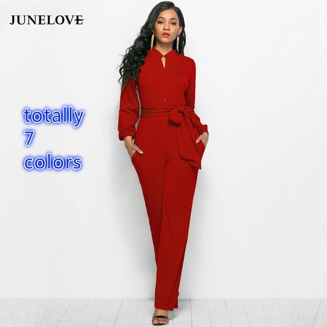 JuneLove Women Long Sleeve Jumpsuit Jumpsuits & Rompers Women color: Black|dark blue|Green|Red|Rose Red|Sky Blue|wine red