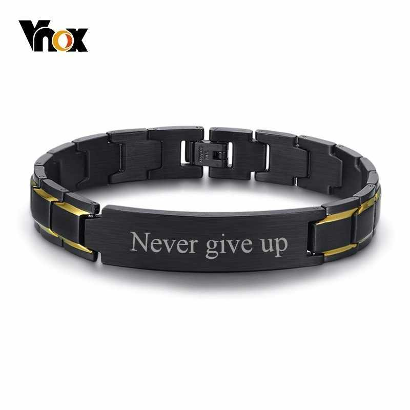 Vnox Free Customize Engrave Name Words ID Bracelets for Men Black Stainless Steel Link Chain Custom Male Jewlery Gift