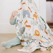 Детские одеяла хлопчатобумажные аксессуары для фотографирования новорожденных коляска чехол мультфильм шаблон обертывание ребенка игровой коврик муслин пеленание одеяло