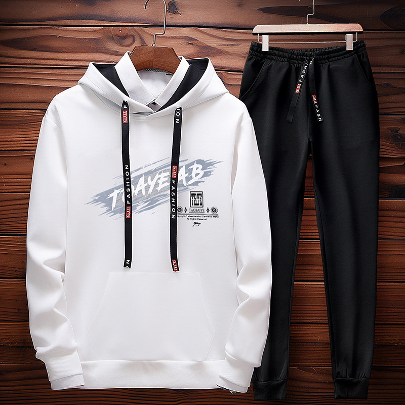 Two-Piece Hooded Long Sleeve MEN'S T-shirt 2019 New Style Korean-style Trend Casual MEN'S Suit Autumn Students Clothes